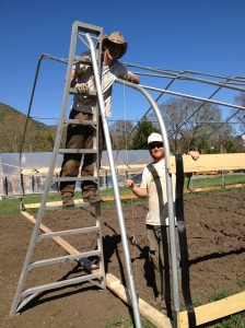 Kyle and Jeff are figuring out how to construct the end walls for the hoop house