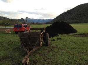 Just for reference, the pile of compost is bigger than the Jeep. In front