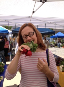 One of our customers couldn't wait to get home to eat her radishes.