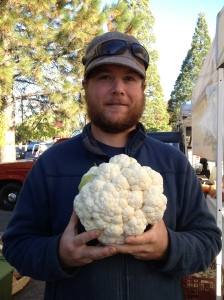 We have had an amazing cauliflower crop this fall. This picture Jeff is holding one that weighed about 5 pounds.