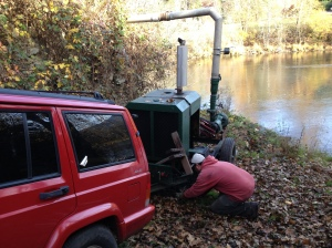 The annual event- removing the pump from the river. This time, fortunately, was much easier now that we have done it once before
