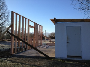 Here, you can see the walk-in cooler on the right and the start of the construction